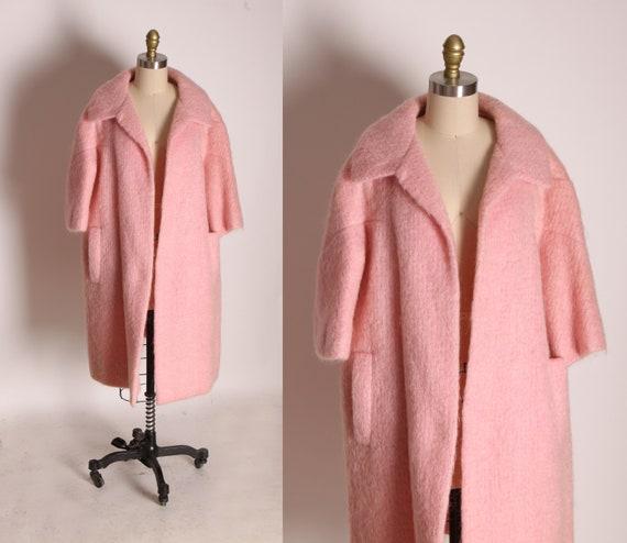 1950s Pink Mohair Fuzzy Half Sleeve Open Front Winter Coat by Harzfelds -XL