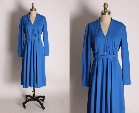 1970s Blue Long Sleeve Faux Belted Waist Formal Co