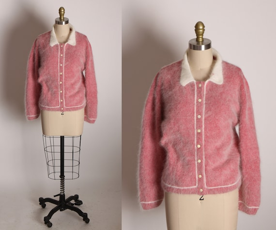 1950s Raspberry Pink and White Fuzzy Angora Long Sleeve Button Up Cardigan Sweater -L