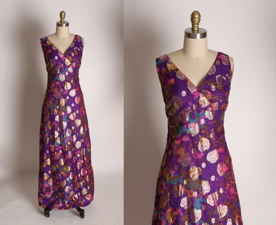 1960s Purple, Blue, Pink and Gold Lame Floral Prin