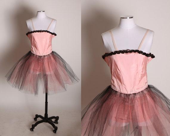 1950s Pink and Black Stretch Elastic Strap Tulle Ballerina Showgirl Burlesque Tutu Costume -XXS