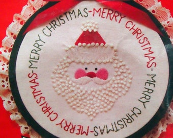 Santa Candlewick Christmas Wall Plaque Hoop-To-Stitch Kit By Creative Moments Vintage Candlewicking Kit 1983