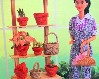 Flower Pots & Baskets By Annie And Annie's Fashion Doll Crochet Club Vintage Crochet Pattern Page 1995