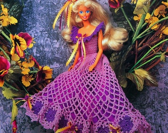Pretty In Pansies By Eileen Garrett And Annie's Fashion Doll Crochet Club Vintage Crochet Pattern Page 1995