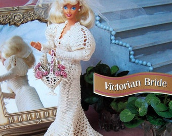 Victorian Bride By Norma Bonk, Lucille Britain And Annie's Fashion Doll Crochet Club Vintage Crochet Pattern Leaflet 1996