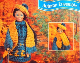 Autumn Ensemble By Claudine Wendt And Annie's Fashion Doll Crochet Club Vintage Crochet Pattern Page 1995