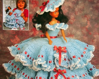 Ruffles & Bows Trinket Box By Virginia Zartman And Annie's Fashion Doll Crochet Club Vintage Crochet Pattern Leaflet 1996