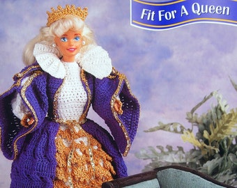 Fit For A Queen By Claire Stringer And Annie's Fashion Doll Crochet Club Vintage Crochet Pattern Leaflet 1997