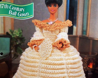 17th Century Ball Gown By Hazel Furst And Annie's Fashion Doll Crochet Club Vintage Crochet Pattern Leaflet 1995