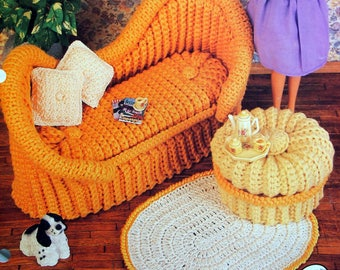 French Settee By Annie Potter And Annie's Fashion Doll Crochet Club Vintage Crochet Pattern Leaflet 1995