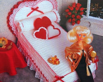 Hearts & Bows Bed Set By Joyce Bishop And Annie's Fashion Doll Crochet Club Vintage Crochet Pattern Leaflet 1995