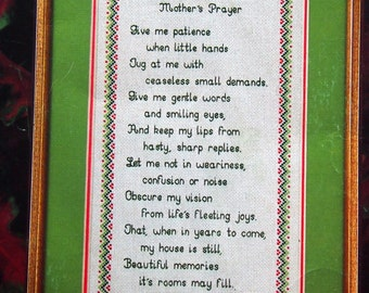 Mother's Prayer Leaflet 6 By Peggy Wellman Vintage Cross Stitch Pattern Leaflet 1981