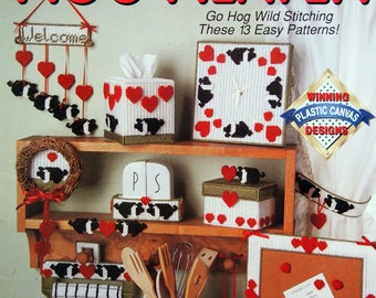 Hog Heaven Go Hog Wild Stitching These 13 Easy Patterns By Vicki Blizzard Plastic Canvas Pattern Leaflet 1991