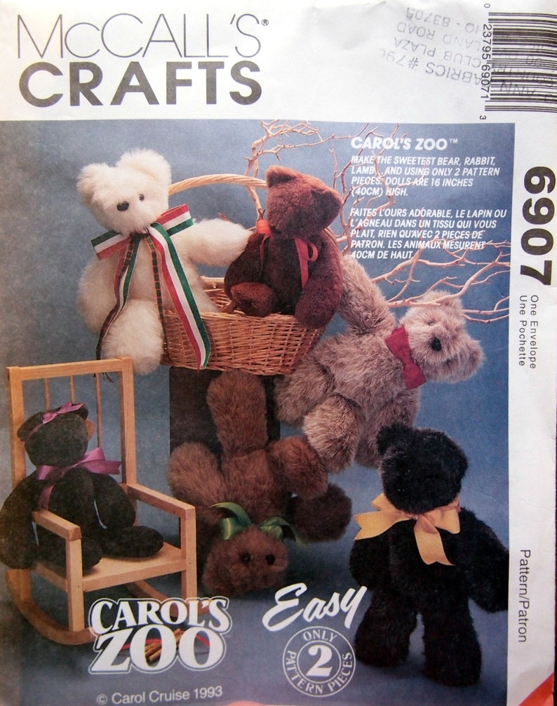 Bear Rabbit And Lamb McCall's Crafts 6907 Vintage Uncut image 0