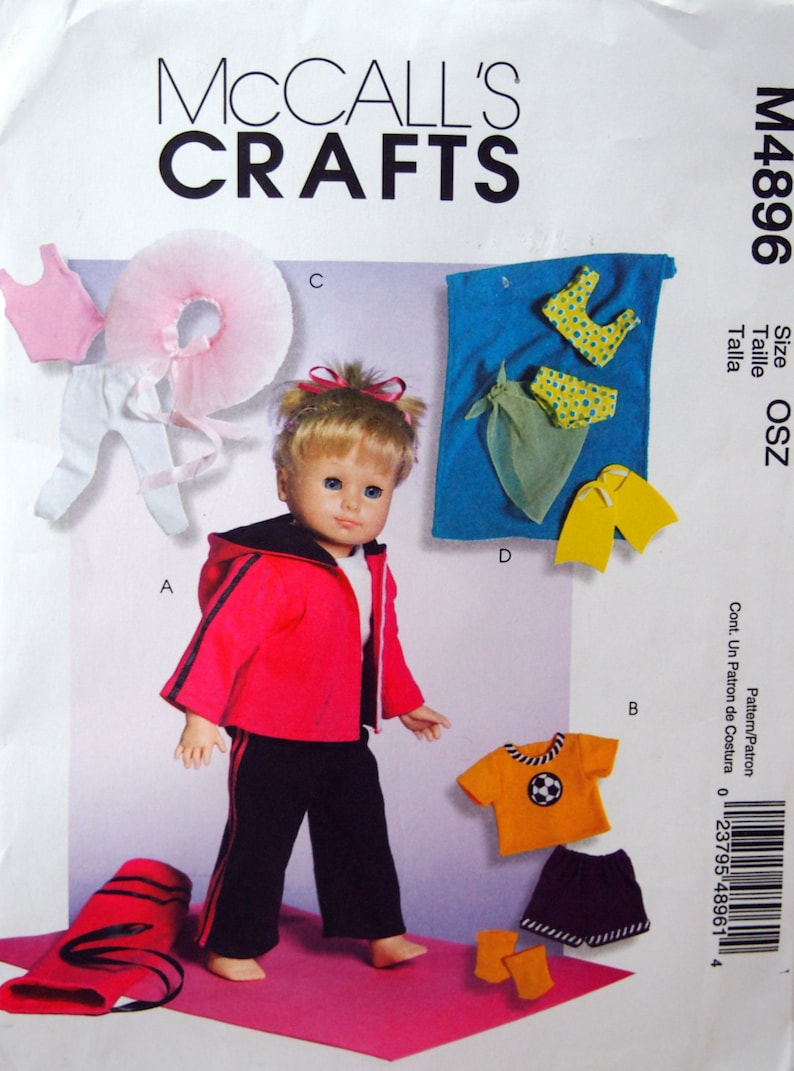 18 Inch Doll Clothes McCall's Crafts M4896 Uncut Sewing image 0