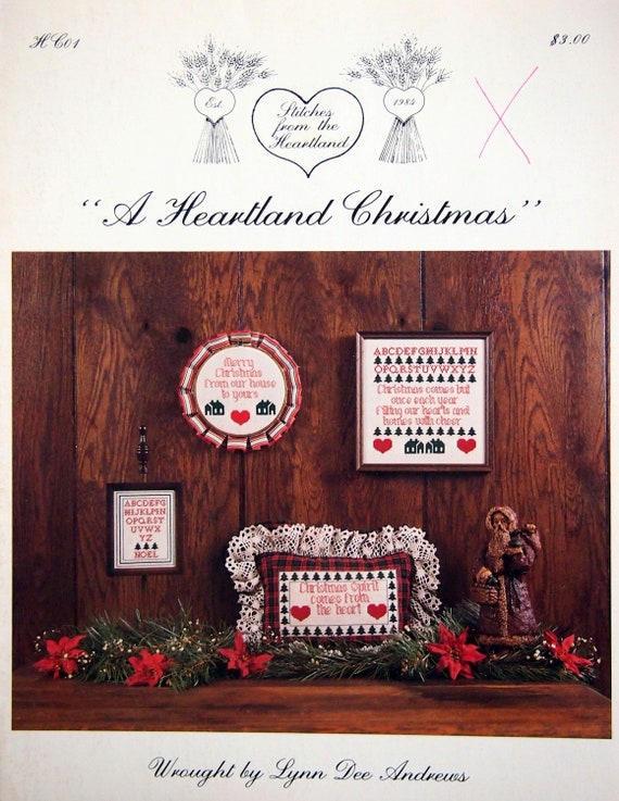 A Heartland Christmas.A Heartland Christmas By Lynn Dee Andrews Vintage Cross Stitch Pattern Leaflet 1984