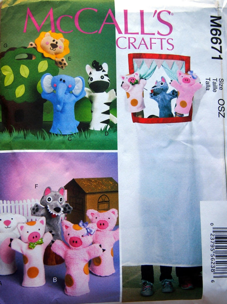 Puppets And Carry Bag By McCall/'s Crafts M6671 Uncut Sewing Pattern 2012