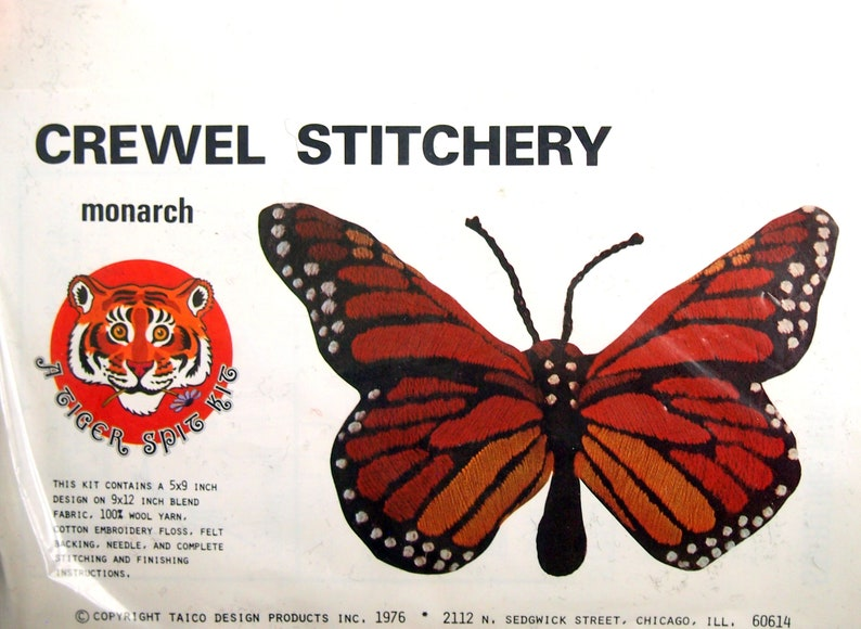 A Tiger Spit Kit By Taico Design Products Monarch Inc Vintage Crewel Embroidery Kit 1976