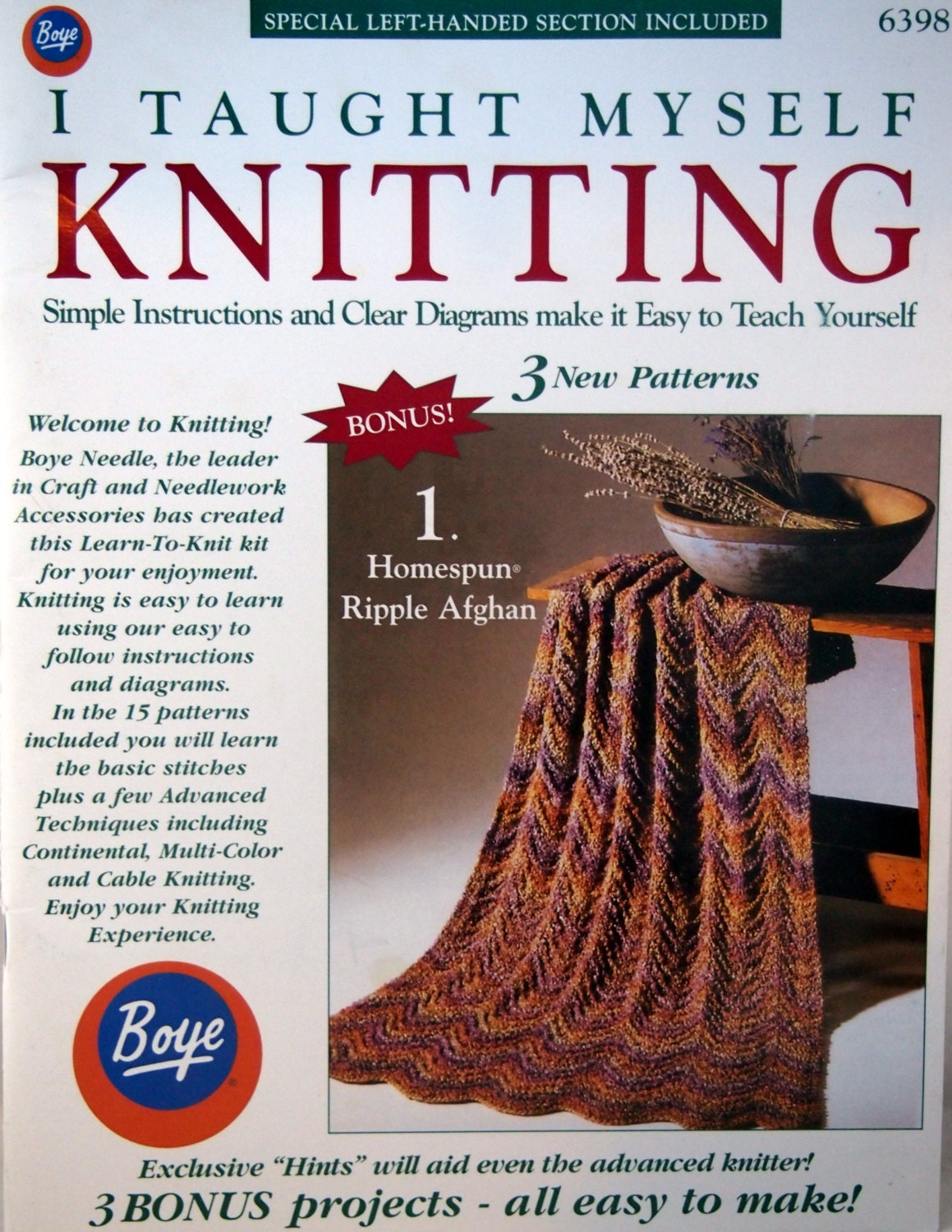 I Taught Myself Knitting By Boye And Lion Brand Yarn Vintage ...