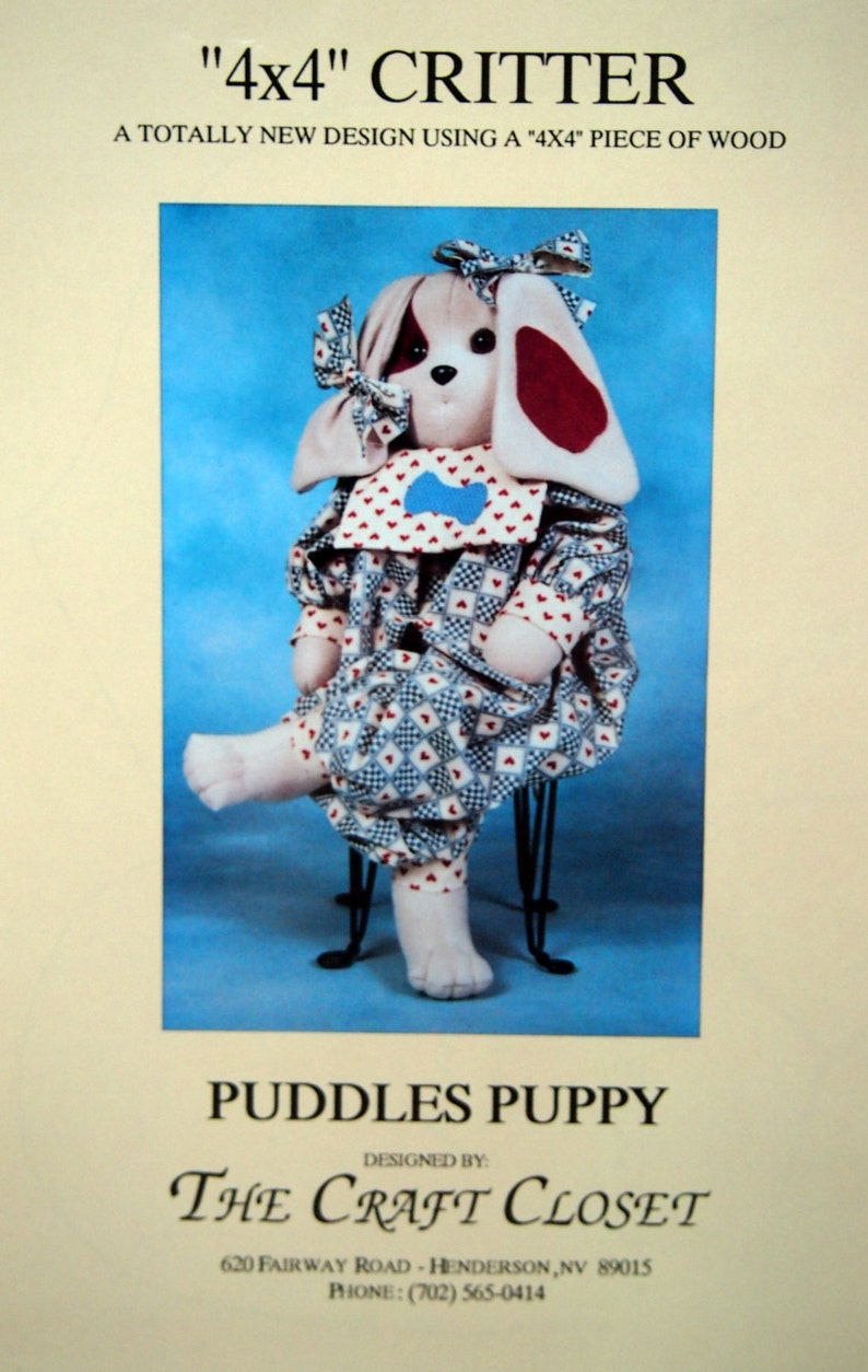 Puddles Puppy 4 x 4 Critter By The Craft Closet Vintage Uncut image 0