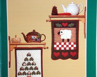 Little Tavern Banners For Christmas Memories By Hickory Hollow Vintage Applique Wall Quilt Pattern Packet 1991