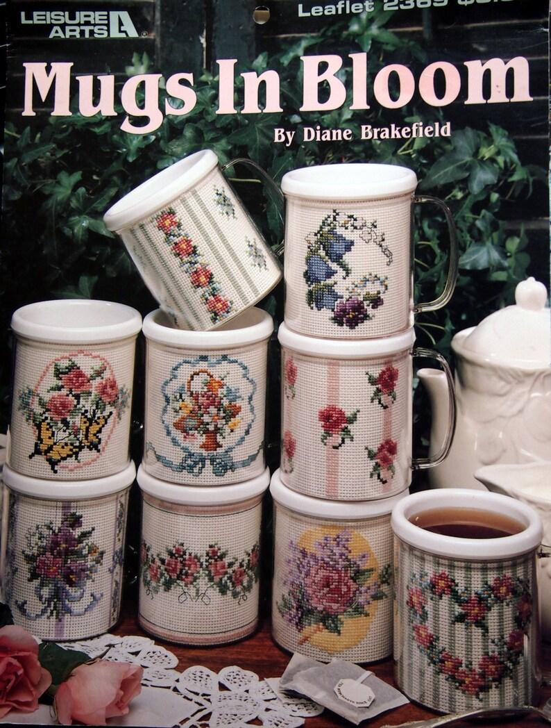 Mugs In Bloom By Diane Brakefield Vintage Cross Stitch Pattern image 0