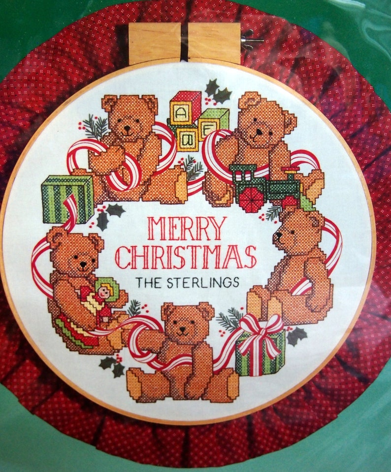 Holiday Teddies Hoop By Crystal Collins-Sterling And Dimensions Vintage Stamped Cross Stitch Kit 1988