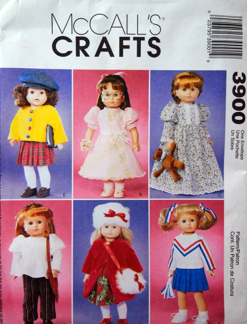 18 Inch Doll Wardrobe McCall's Crafts 3900 Uncut Sewing image 0