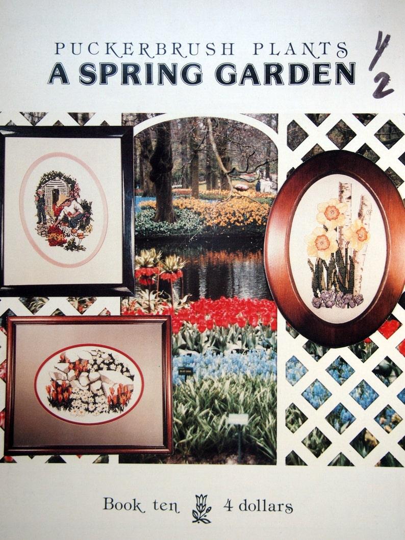 A Spring Garden Book Ten By Puckerbrush Plants Vintage Cross Stitch Pattern Leaflet 1985