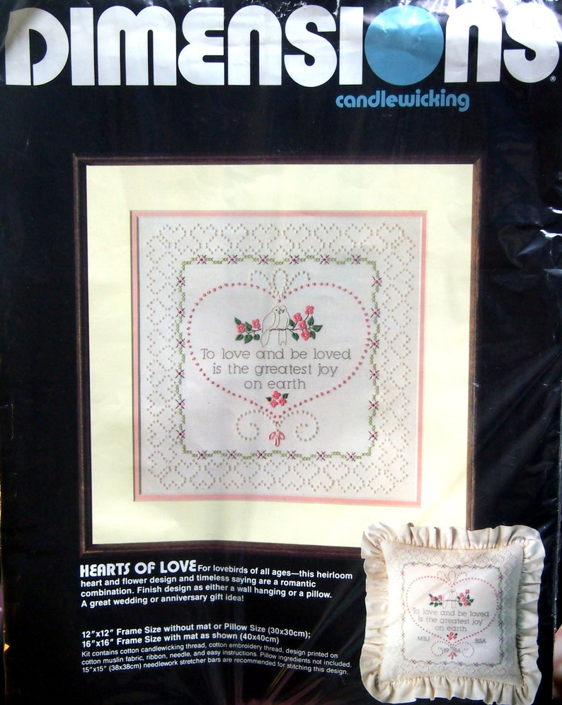 Hearts Of Love By Dimensions Vintage Candlewicking Embroidery And Stamped Cross Stitch Kit 1984