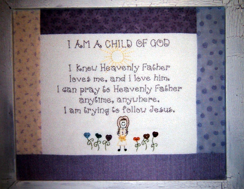 Soy un hijo de Dios actividad día LDS mano bordado patrón | Etsy