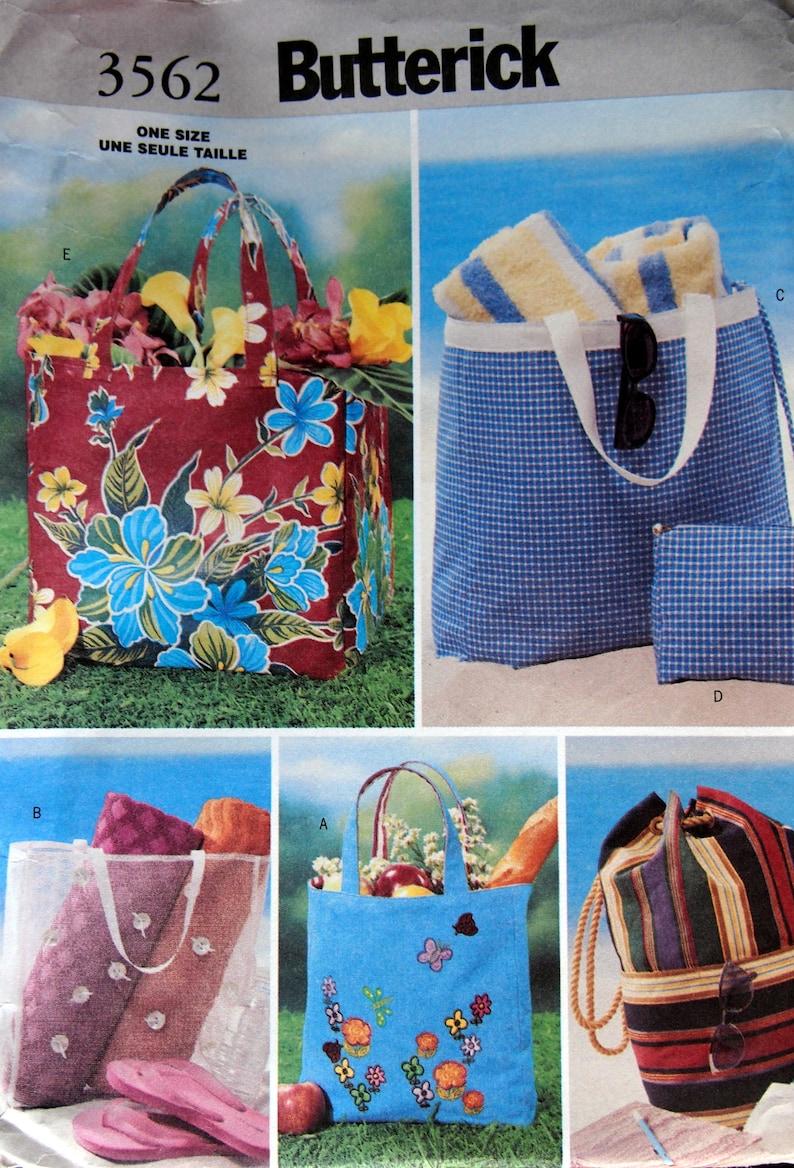 Beach Bags Butterick 3562 Uncut Sewing Pattern 2002 image 0