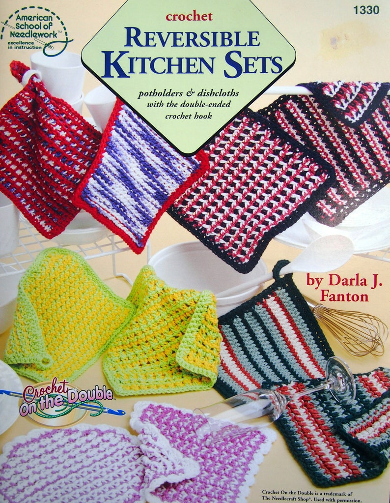 Reversible Kitchen Sets Potholders Dishcloths With Etsy