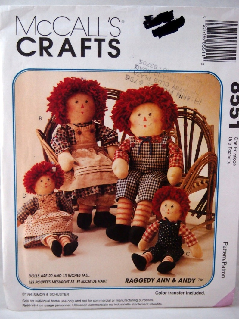 McCall/'s Crafts Simplicity Doll Raggedy Ann /& Costume Sewing Pattern NEW