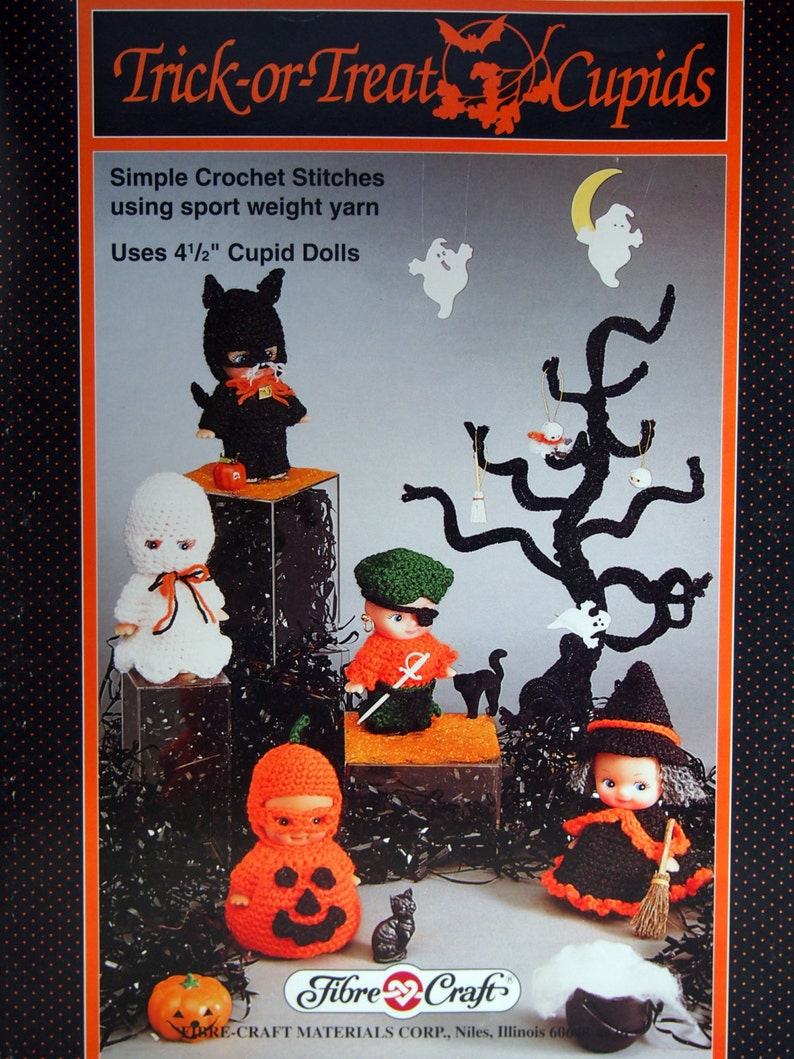 Trick Or Treat Cupids By Fibre Craft Vintage Crochet Pattern image 0