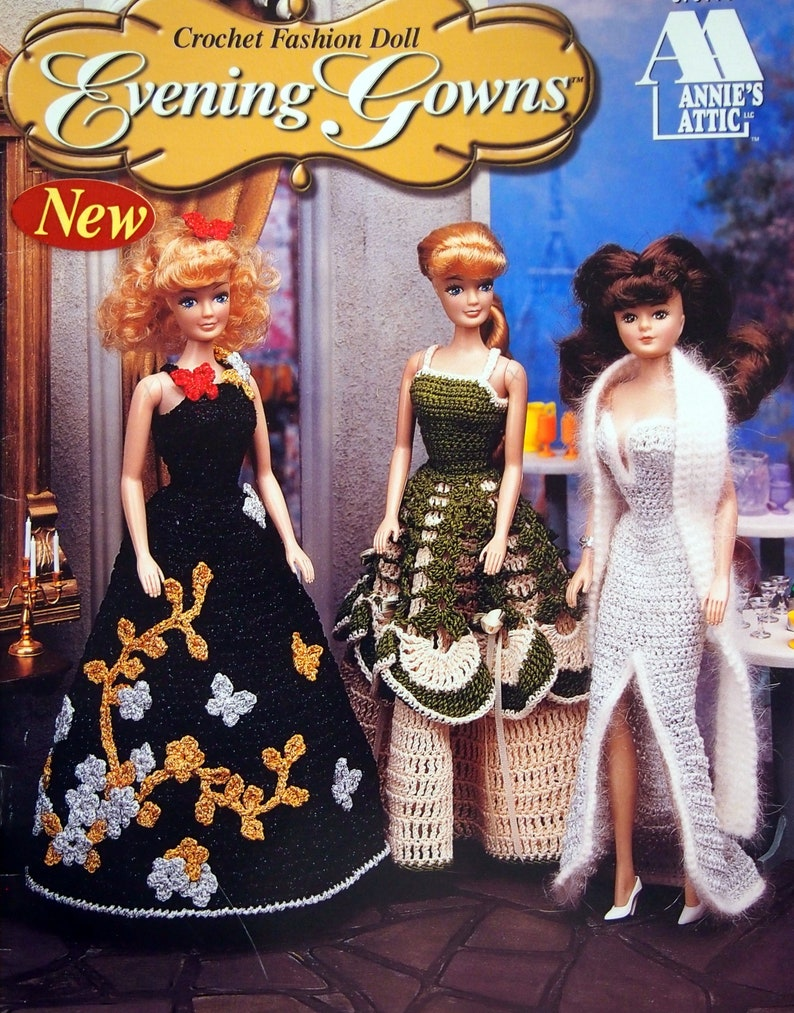 Crochet Fashion Doll Evening Gowns By Annie's Attic image 0