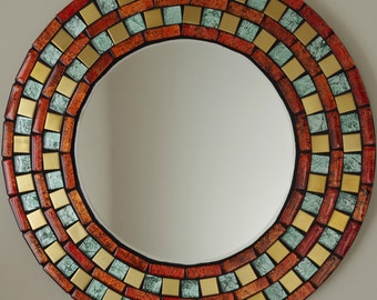 large round mirror | mosaic mirror | hand made | wedding gift | red | gold | personalized | shabby chic | graduation gift