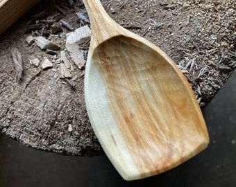 "12"" serving spoon, cooking spoon, hand carved by the large apprentice."