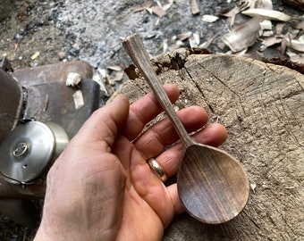 """7"""" eating spoon, soup spoon, wooden spoon, serving spoon, hand carved wooden spoon"""
