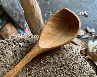"12"" cooking spoon, serving spoon, left handed, hand carved wooden spoon"