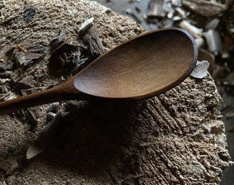 "9"" bushcraft spoon, wooden spoon, cooking spoon, soup spoon, all in one spoon, hand carved wooden spoon"