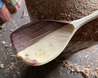 "12"" wooden spoon, cooking spoon, serving spoon, hand carved wooden spoon"