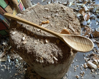 "11"" cooking spoon, soup spoon, all in one bushcraft spoon, hand carved wooden spoon"