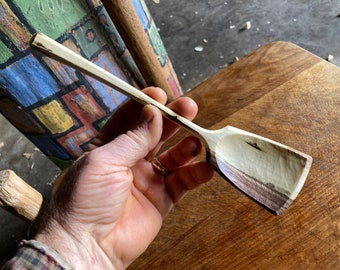 """9"""" wooden spoon, light cooking spoon, eating spoon, all in one bushcraft spoon"""
