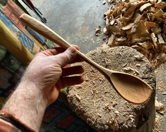 """12"""" cooking spoon, serving spoon, left handed, hand carved wooden spoon"""