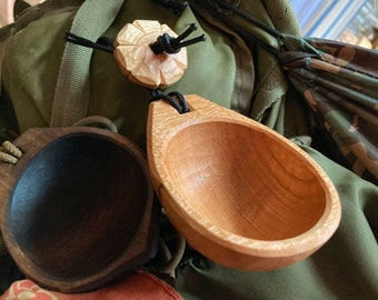 Tiny noggin, coffee scoop, whiskey cup, canoe cup, scoop, hand carved wooden cup