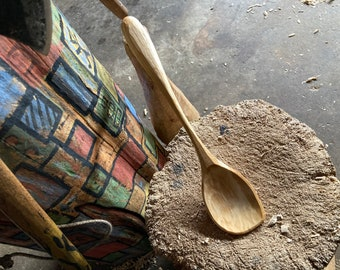 """12"""" cooking spoon, serving spoon, left handed, hand carved by the small apprentice"""
