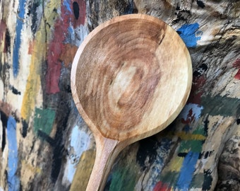 "11"" cooking spoon, wooden spoon, serving spoon, hand carved wooden spoon"