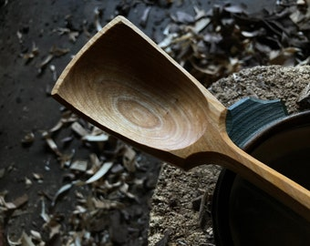 """13"""" wok style spoon, wooden spoon, cooking spoon, serving spoon, made with hand tools"""