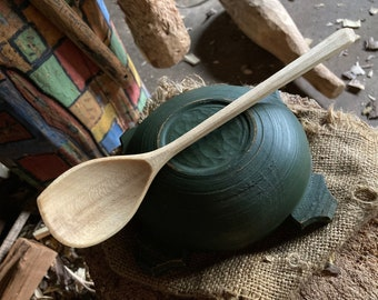 "9"" wooden spoon, light cooking spoon, eating spoon, all in one bushcraft spoon"